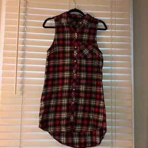 Forever 21 sleeveless plaid button up dress. NWOT.